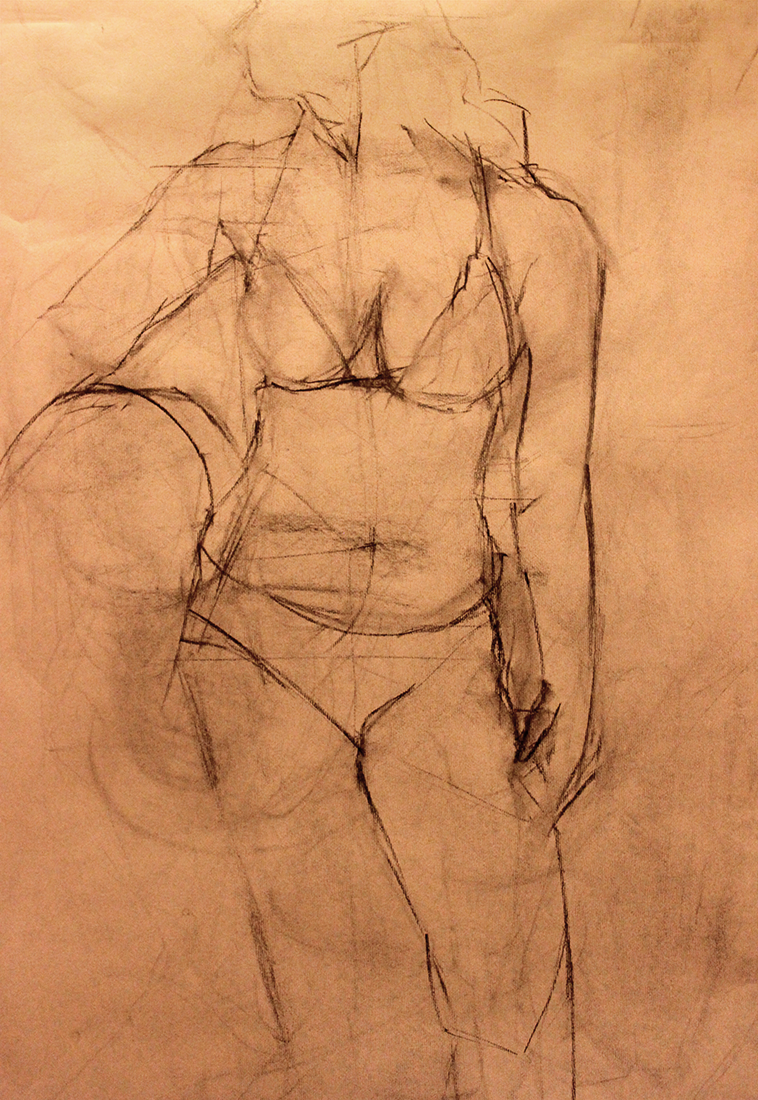 Beach Girl Charcoal on Paper