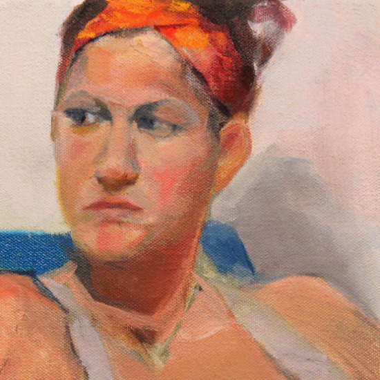 Girl Sitting Oil Painting