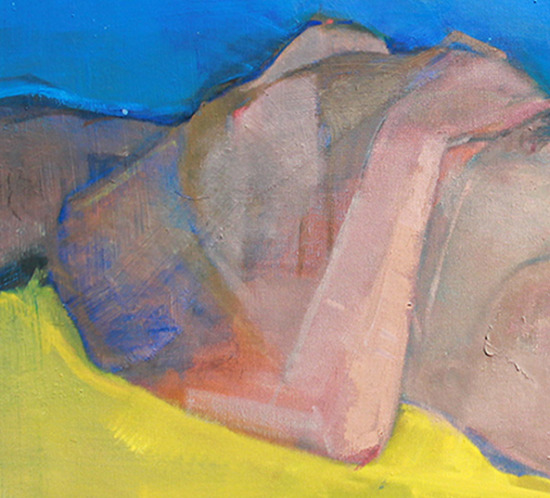 Nude Surrounded by Yellow and Blue Oil Painting