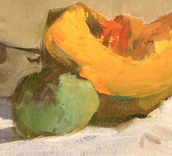 Plums and Melon Oil Painting