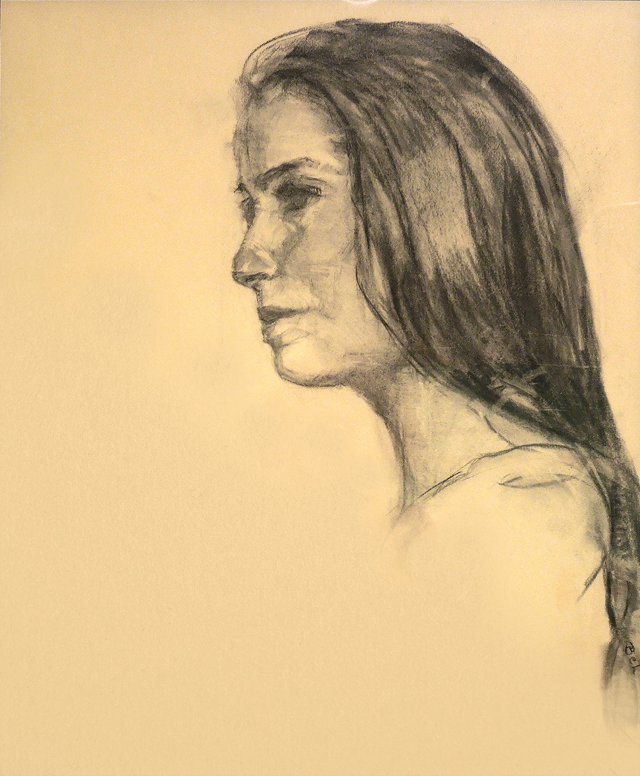 The Graduate Student Charcoal Drawing