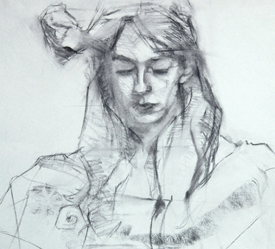Knitting Charcoal Drawing